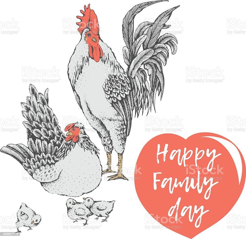 family day of chicken birds vector art illustration