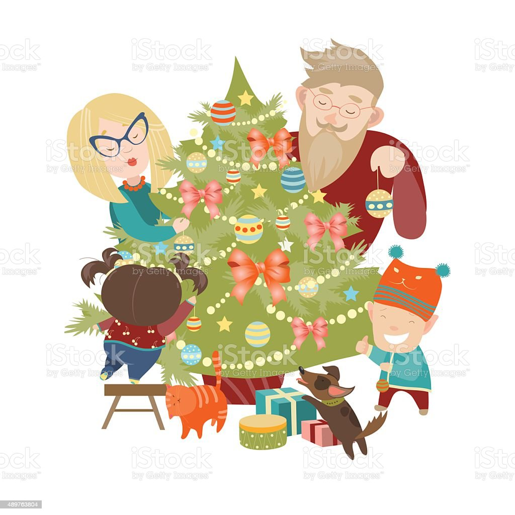 Family decorating a Christmas tree vector art illustration