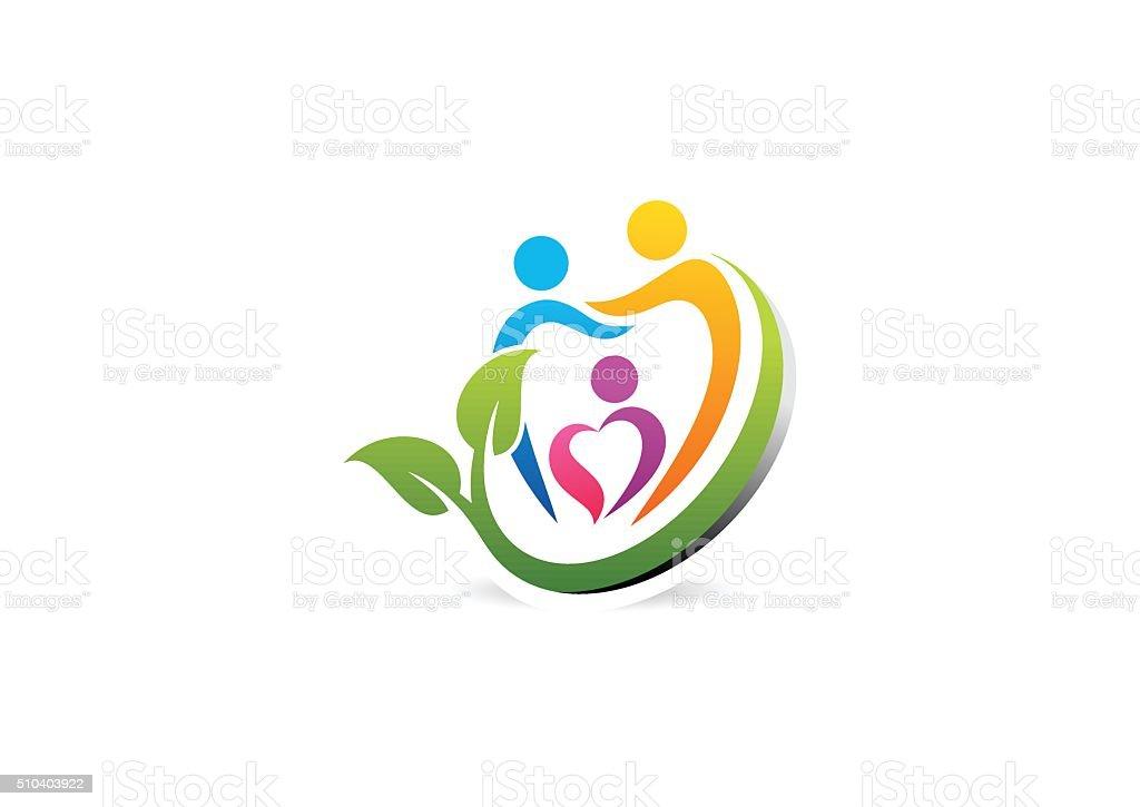 family dental care logo, illustration dentist healthcare education vector design vector art illustration
