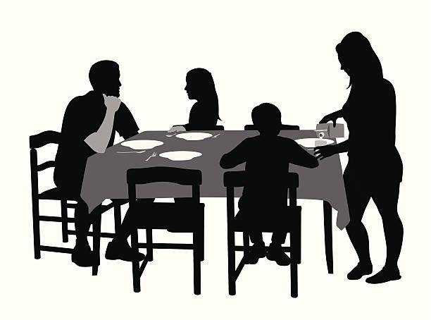 Dinner Family Silhouette Table Clip Art, Vector Images ...