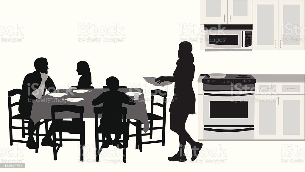 Family Dining Vector Silhouette royalty-free stock vector art