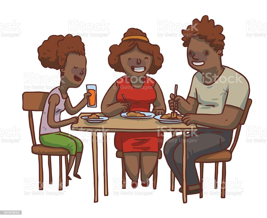 Family dinner: black father, mother and daughter eat food vector art illustration