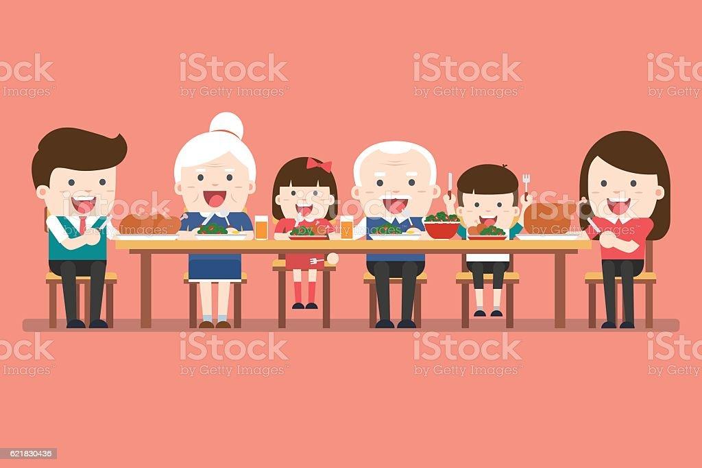 Family dinner. Happy extended family having Thanksgiving dinner vector art illustration