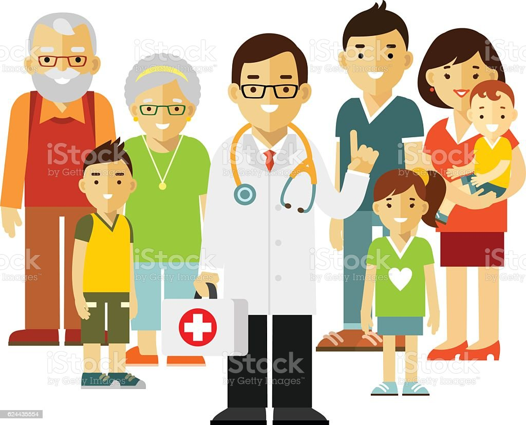 Family doctor concept with young practitioner and happy patients vector art illustration
