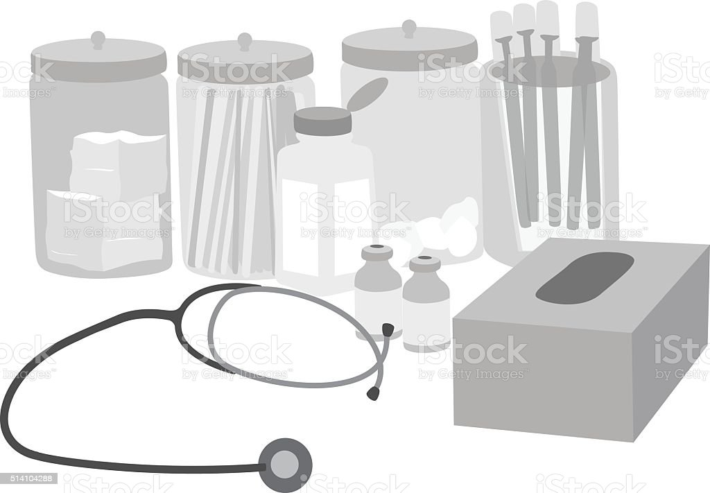 Family Doctor's Accessories vector art illustration