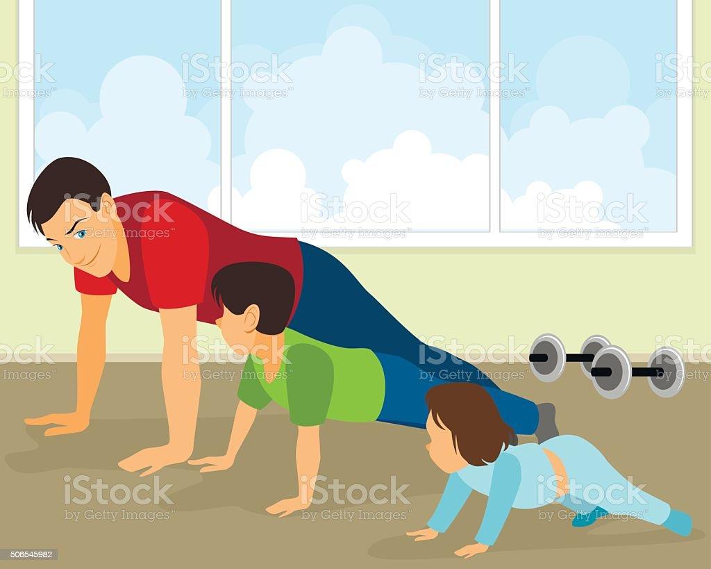 Family doing exercises vector art illustration