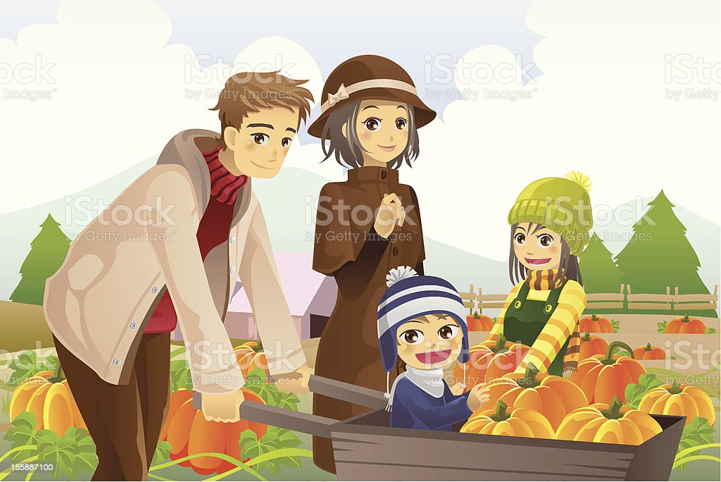 Family doing pumpkin patch royalty-free stock vector art