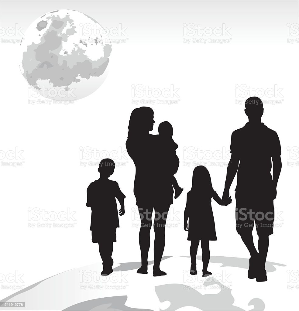 Family Dream Lunar Trip vector art illustration