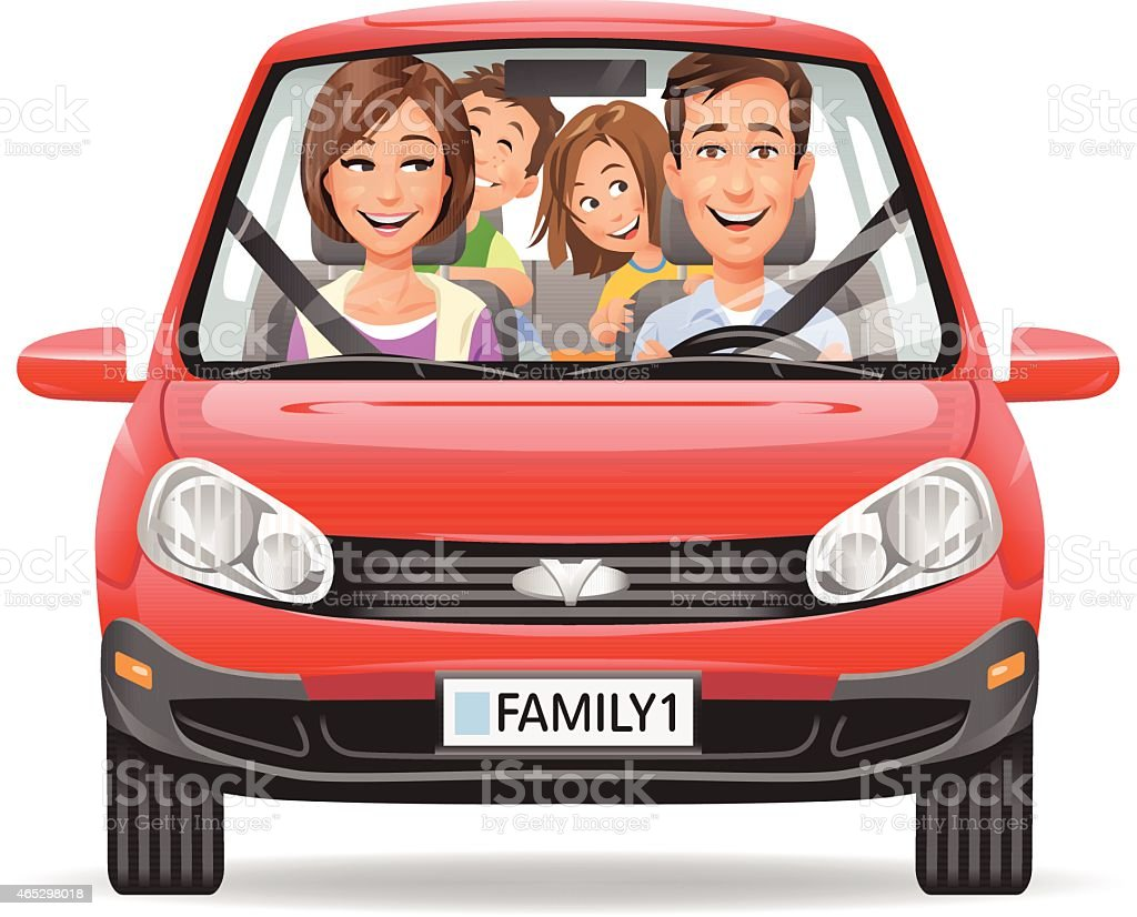 Family Driving In A Red Car vector art illustration