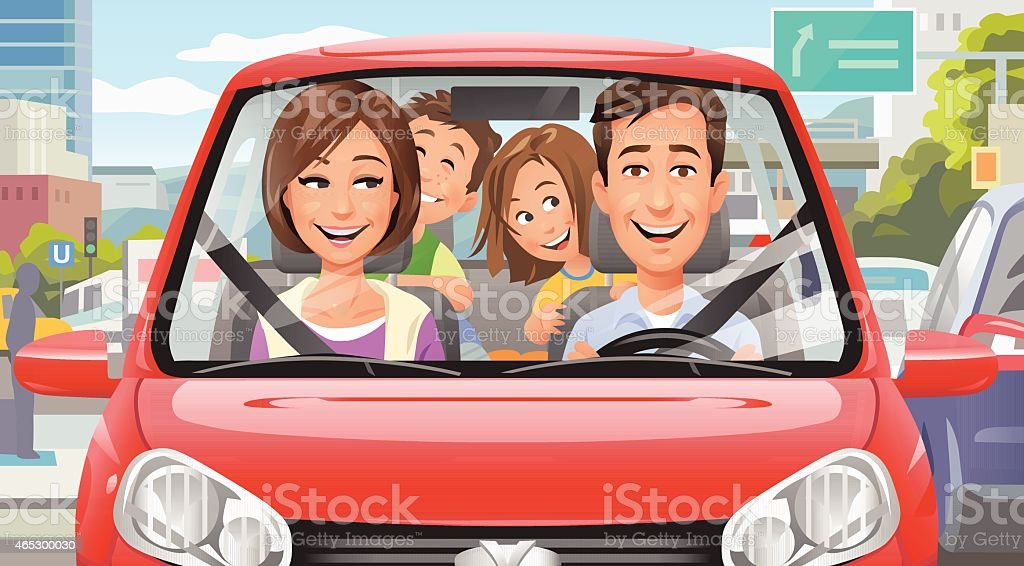 Family Driving In The City vector art illustration