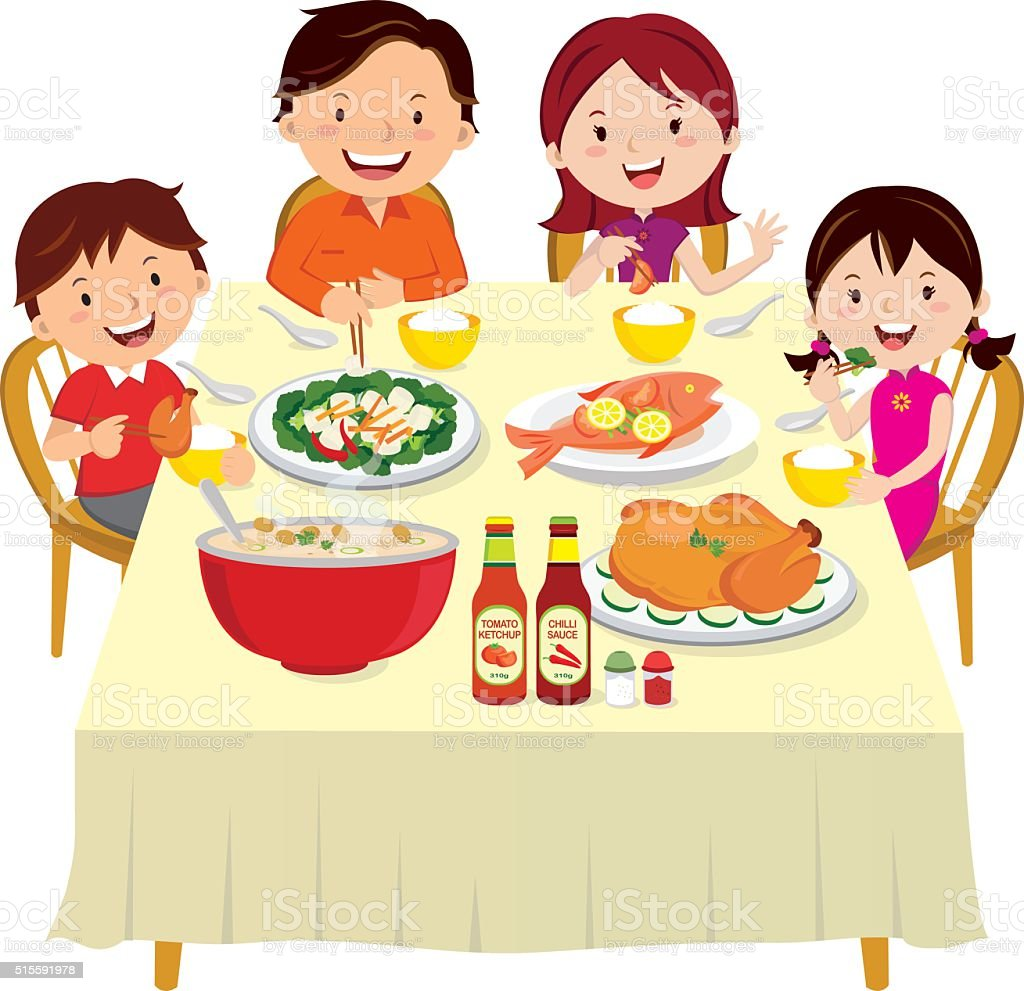 Room And Board Dining Table Family Eating Dinner Family Dinner Isolated Stock Vector