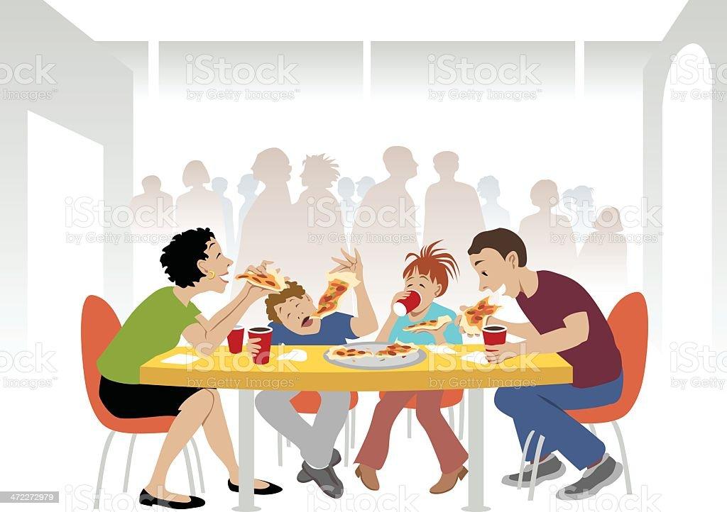 Family Eats Pizza vector art illustration