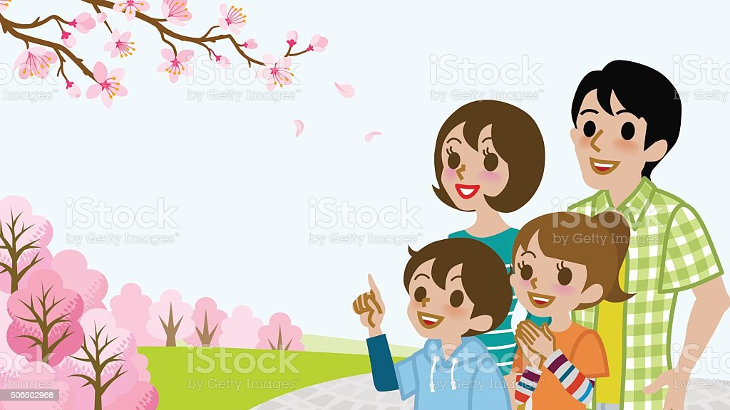 Family enjoy the Cherry blossoms viewing vector art illustration