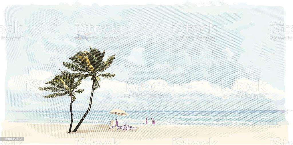Family Enjoying Beach Vacation vector art illustration