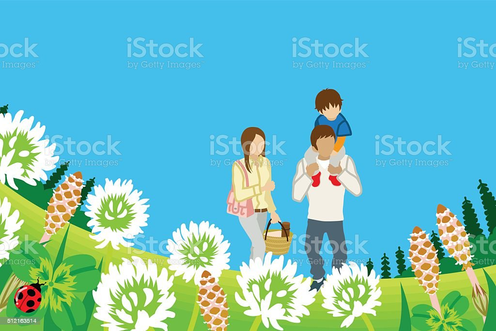 Family enjoying Picnic in Spring nature -Piggyback vector art illustration