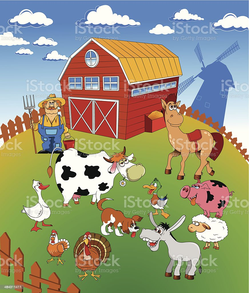 family farm vector art illustration