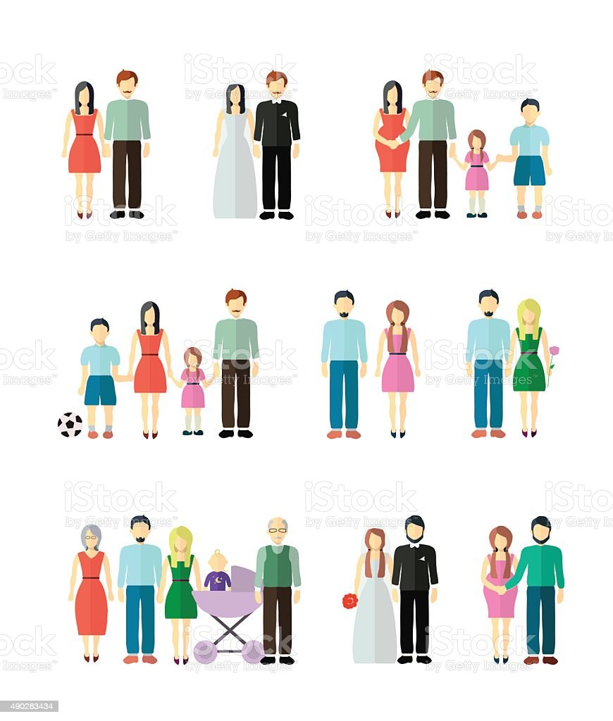 Family  figure collection vector art illustration