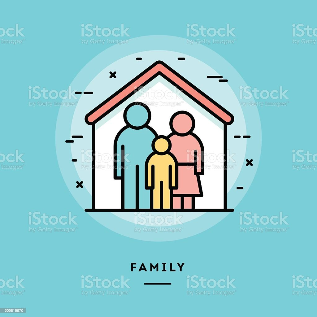 Family, flat design thin line banner vector art illustration