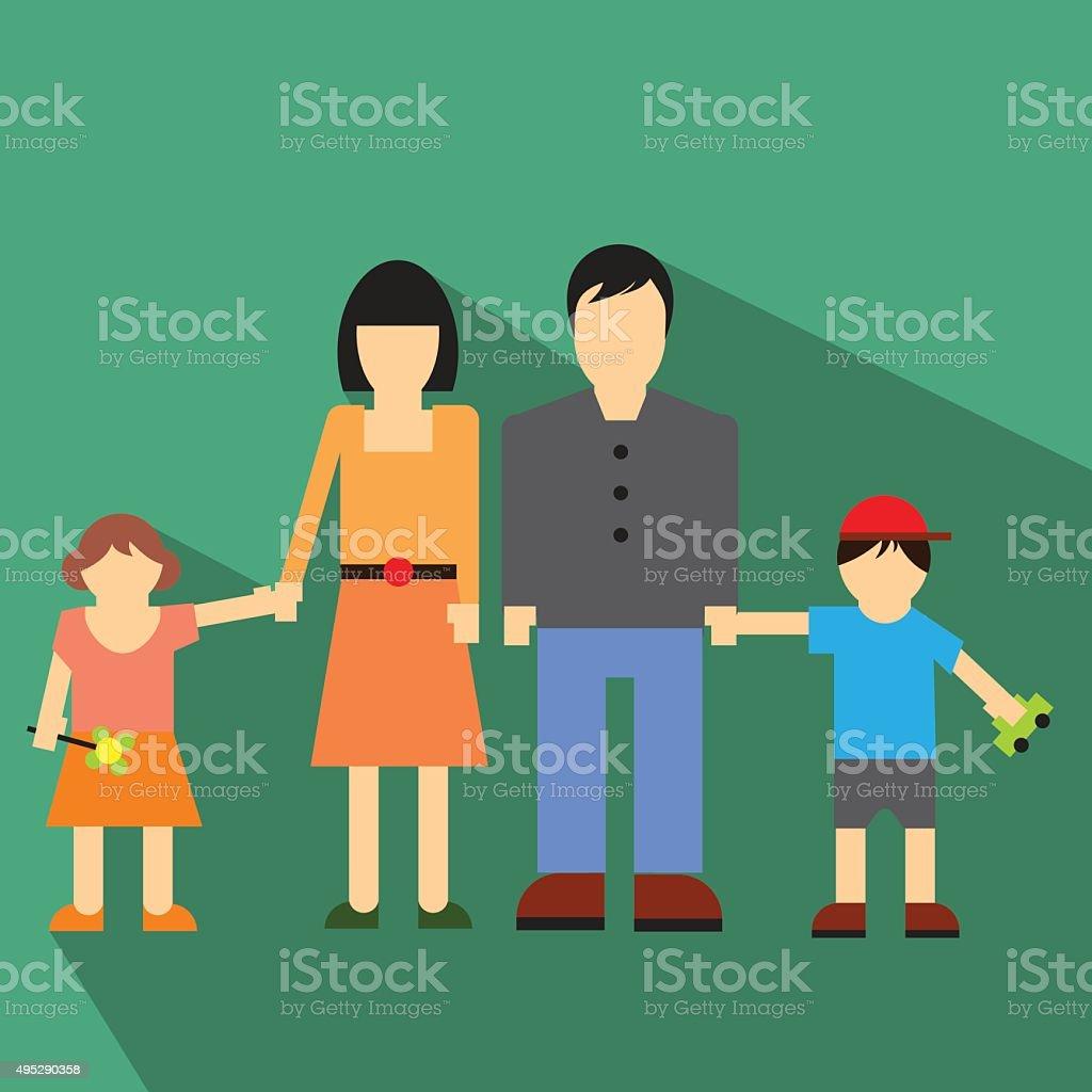 Family flat icon vector art illustration
