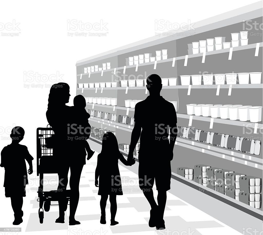 Family Food Shopping vector art illustration