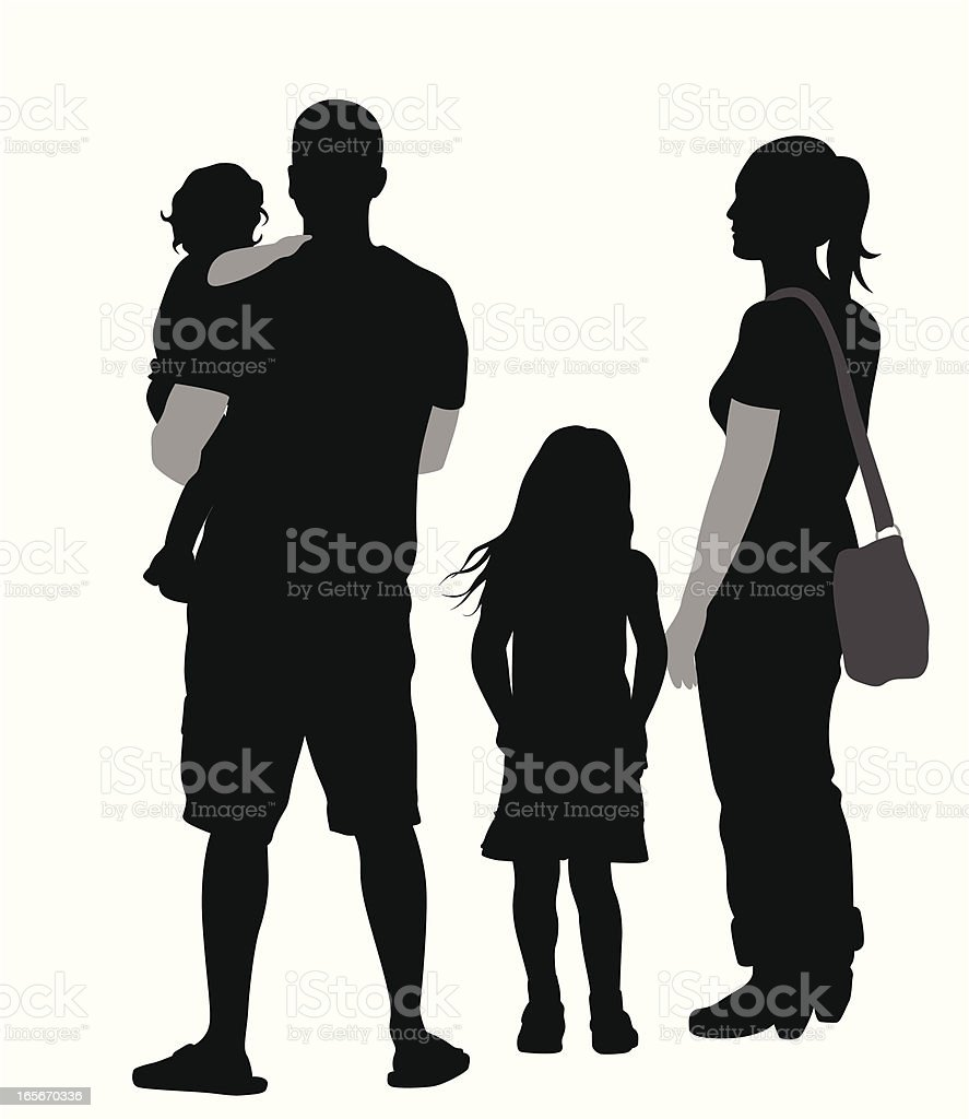 Family Four Vector Silhouette royalty-free stock vector art