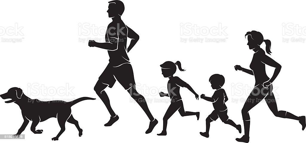 Family Fun Run vector art illustration