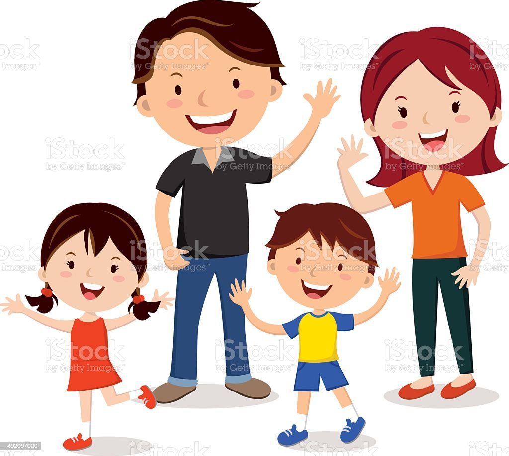 Family fun vector art illustration