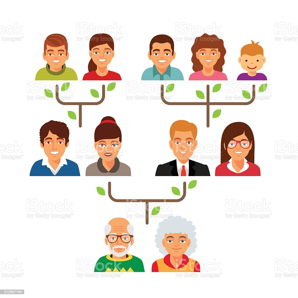Family genealogy tree diagram chart vector art illustration