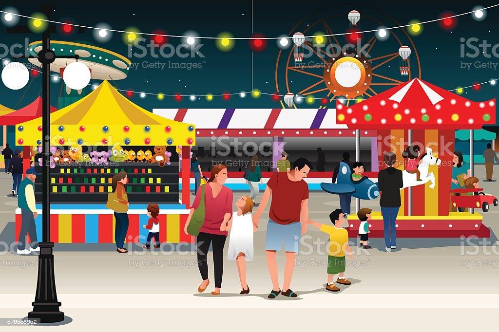 Family Going to Night Market vector art illustration