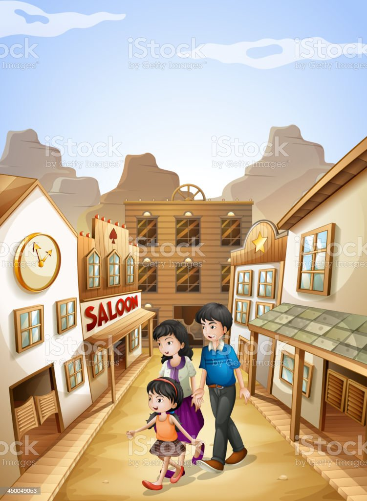 family going to the saloon bar vector art illustration