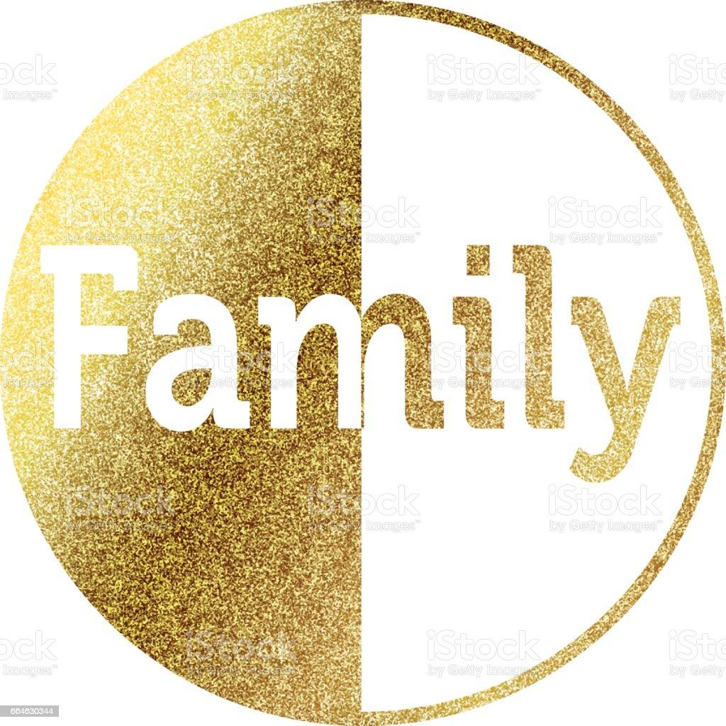 Family golden vector art illustration