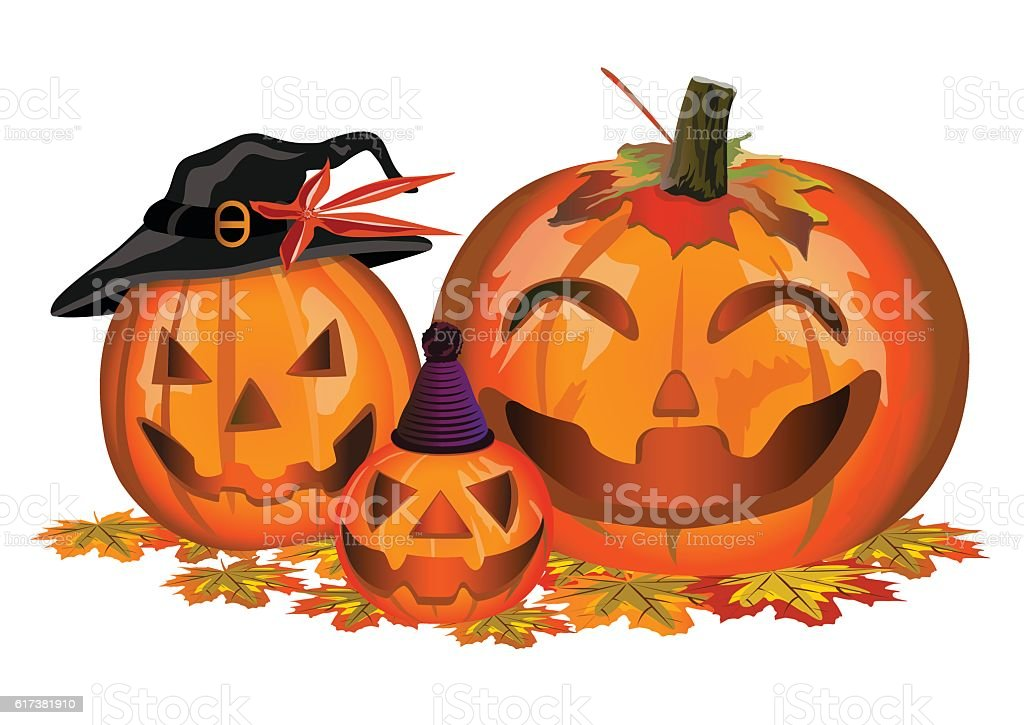 Family Halloween Pumpkins royalty-free stock vector art