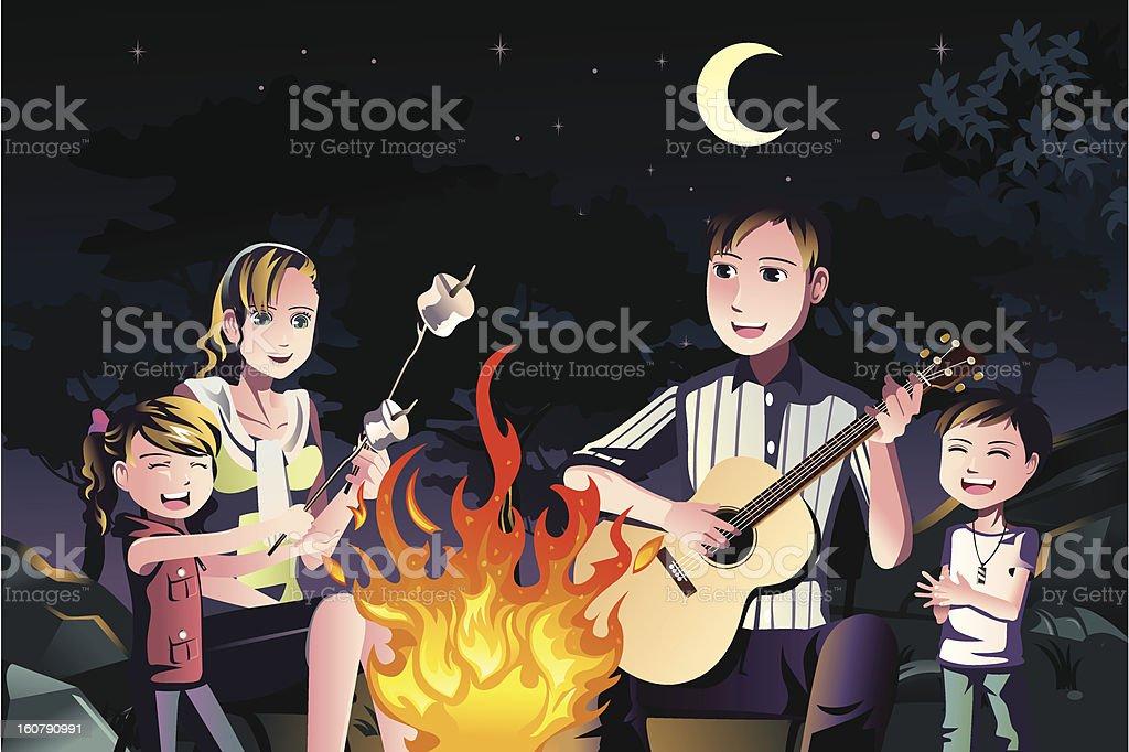 Family having a bonfire royalty-free stock vector art