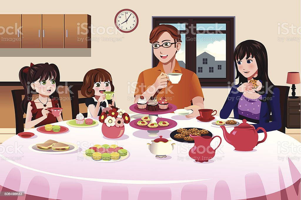 Family having a tea party together vector art illustration