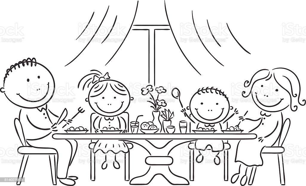 Family having meal together vector art illustration