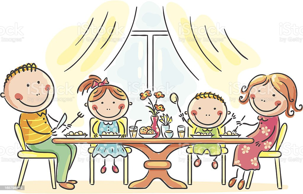 Family having meal royalty-free stock vector art