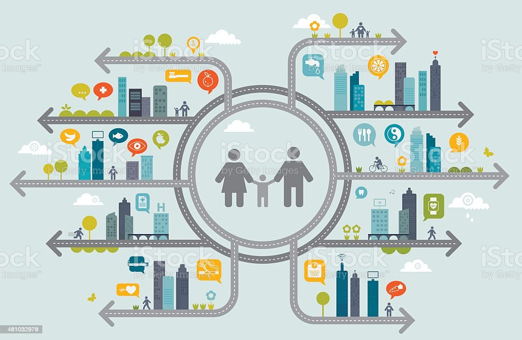 Family Healthy Living Concept vector art illustration