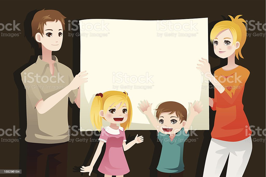 Family holding a blank paper royalty-free stock vector art