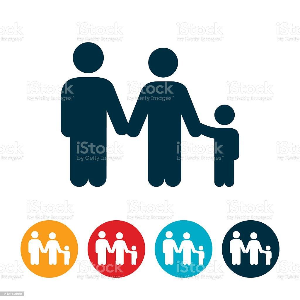 Family Holding Hands vector art illustration