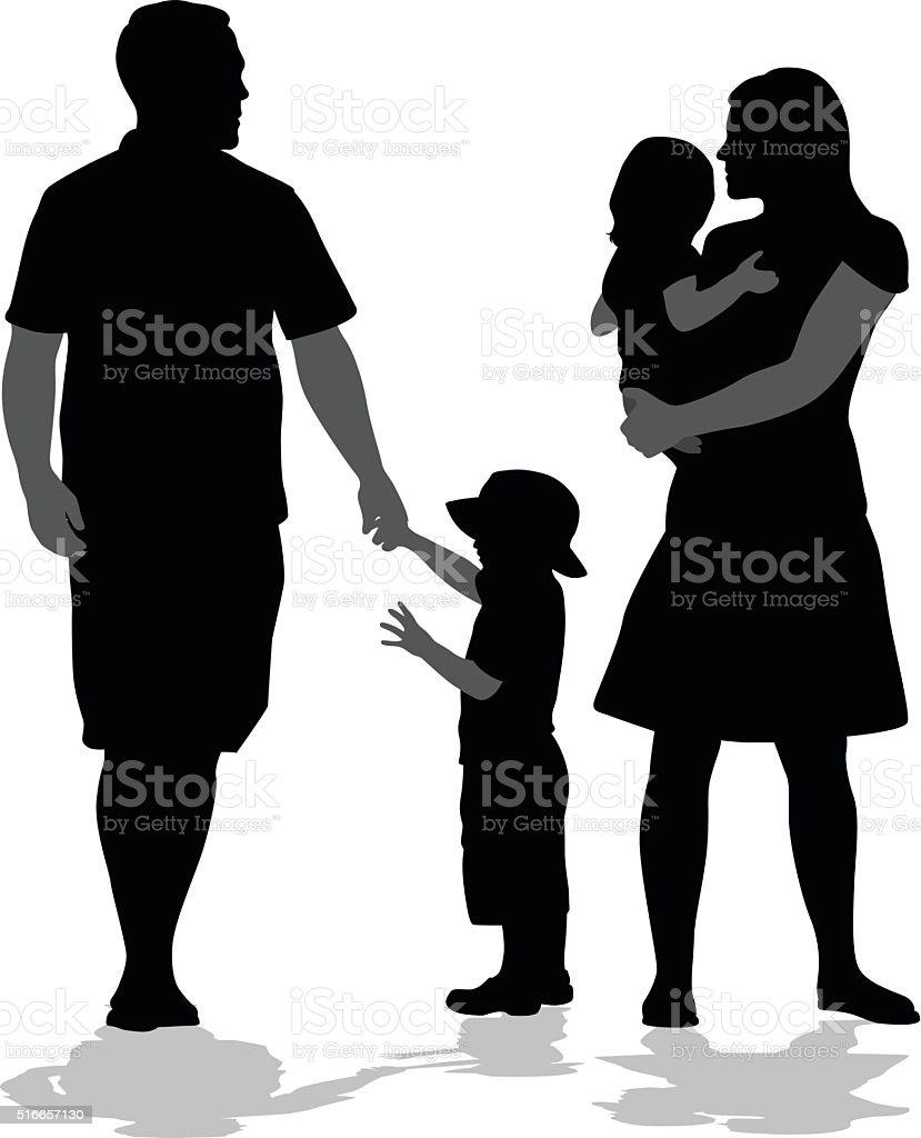 Family Holding Together vector art illustration