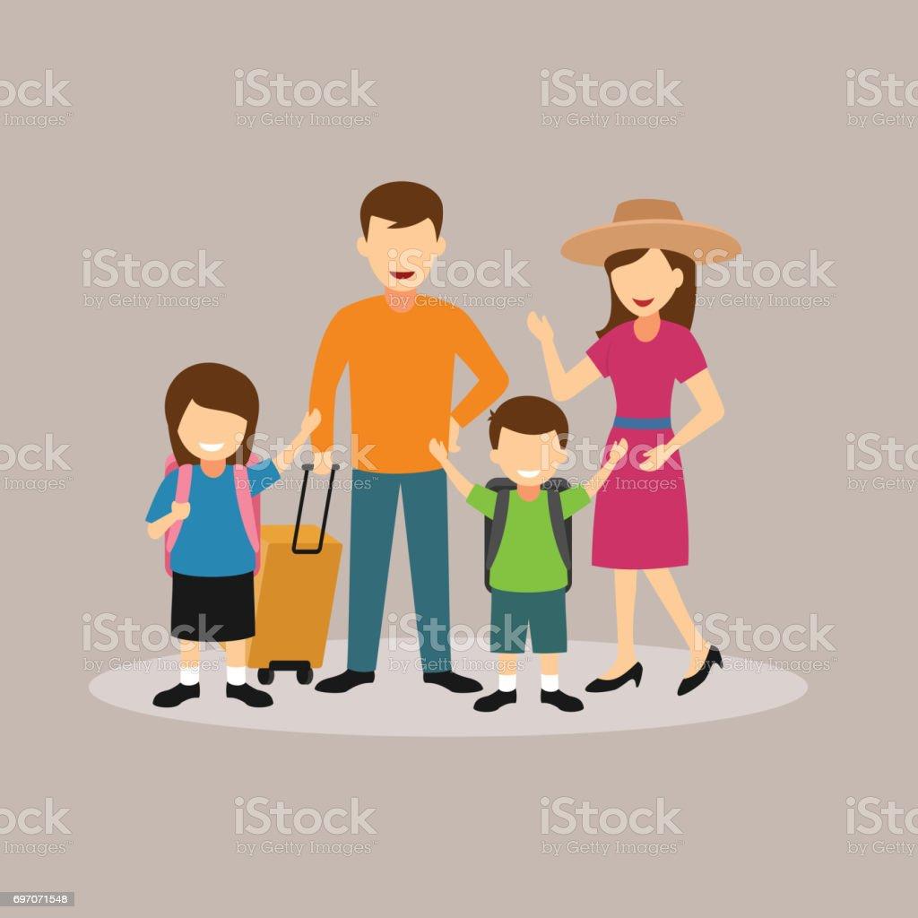 Family Holiday vector art illustration