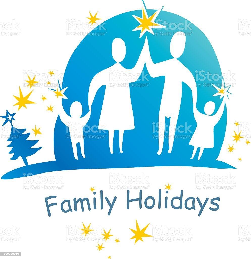 Family holidays. vector art illustration