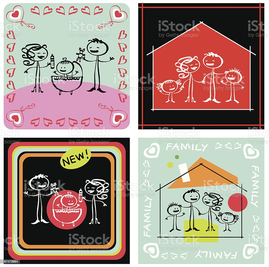 Family, home and baby royalty-free stock vector art