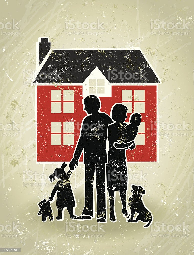 Family Home, Parents, Children Standing in Front Their House vector art illustration