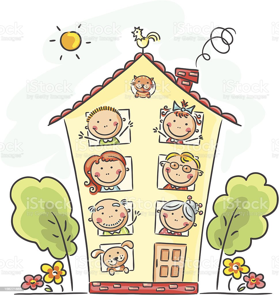 Family home vector art illustration