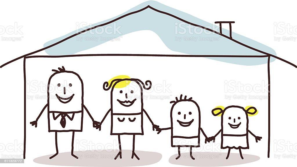 family & home vector art illustration