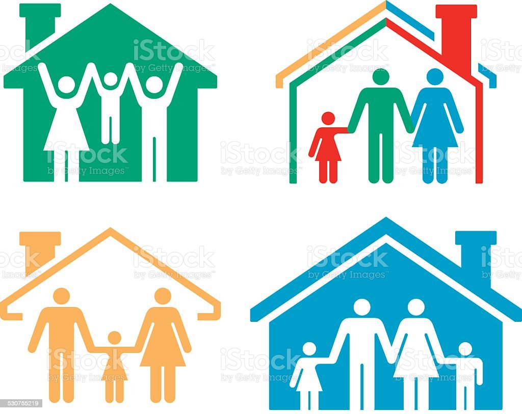 Family Homes and Real Estate vector art illustration