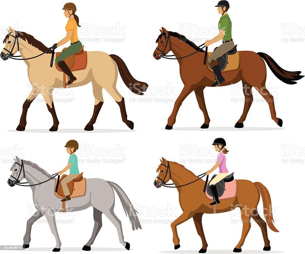 family horseback riding vector art illustration