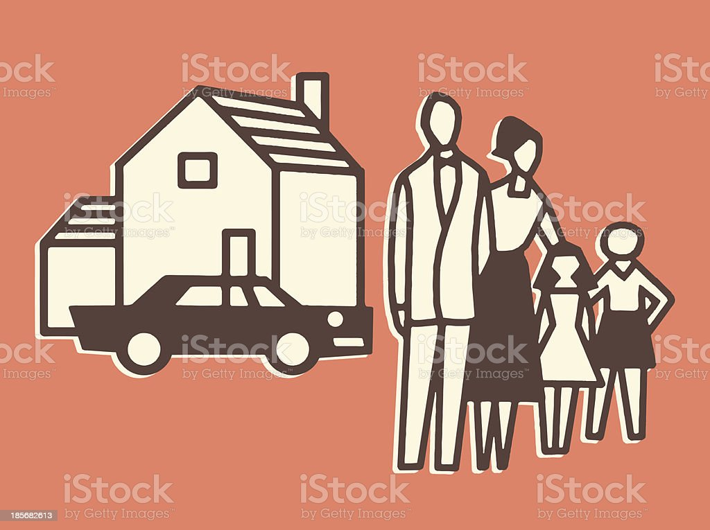 Family, House, and Car royalty-free stock vector art