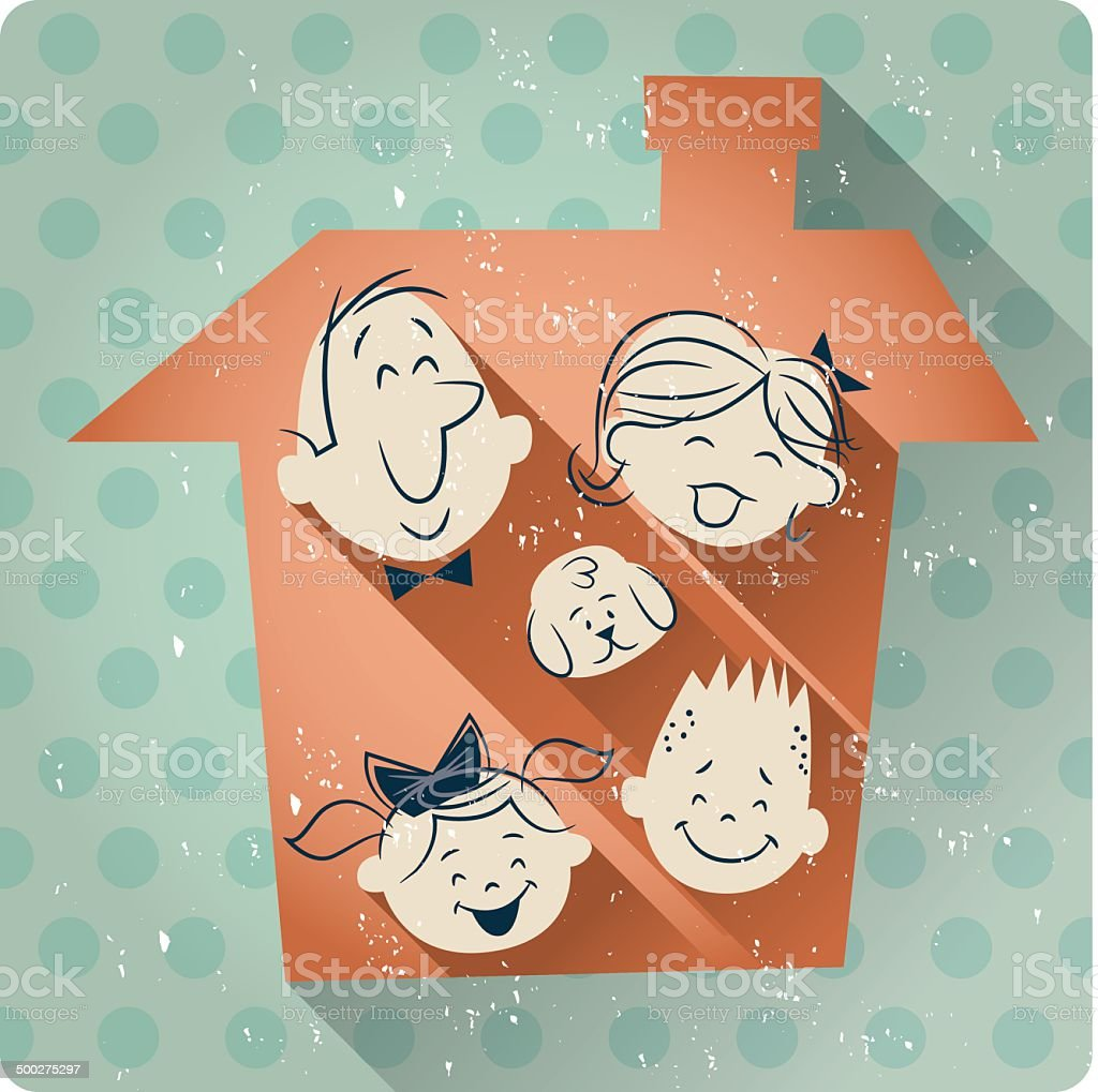 family house cartoon retro vector art illustration